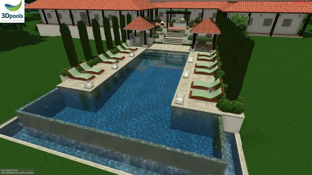Large resort style pool with Outdoor kitchen gazebo, lounge gazebo, sun lounge areas, 16.5m lap lane & enormous 3 sided wet edge spillover. Buy this pool design and many more stylish designs at www.3d-pools.com.au