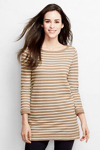 Lands' End Women's 3/4-sleeve Starfish Boatneck Tunic Top - Stripe on shopstyle.com.au