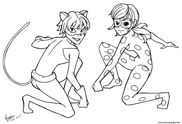 Print miraculous tales of ladybug cat noir kids coloring pages miraculous ladybug desenhos - Dessin a colorier ladybug et chat noir ...