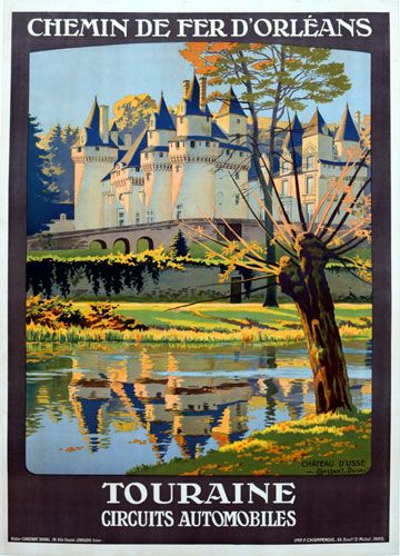 """The February Image of the Month: """"Touraine"""" 1925, 42.5"""" x 30"""",  by Constant-Duval. Constant-Duval was a prolific poster artist in the early 1900's and did most of his work for French railroads. #French #railroad #posters #imageofthemonth #vintageposters #vintage #posters #chicago #artgallery #constantduval #chicagocenterfortheprint #travel #travelposters"""