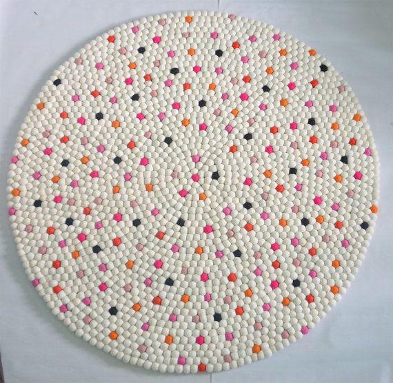 White Dotted Felt Ball Rug Nursery Felt Pom Pom Rug Felt Ball Rugs Felted  Rug