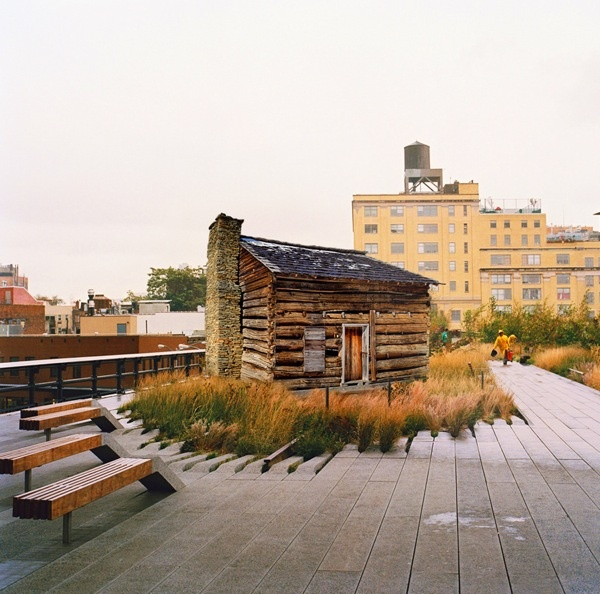 Log Cabin On An Urban The HighLine Park In New York City Meat Packing District