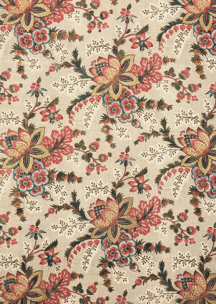 1780 Printed Textile. Made by A. Quesnal of Darnétal. Made in Rouen, France. Copperplate print on cotton plain weave