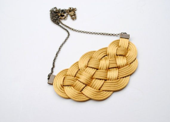 Big knot necklace nautical style gold satin cords by elfinadesign
