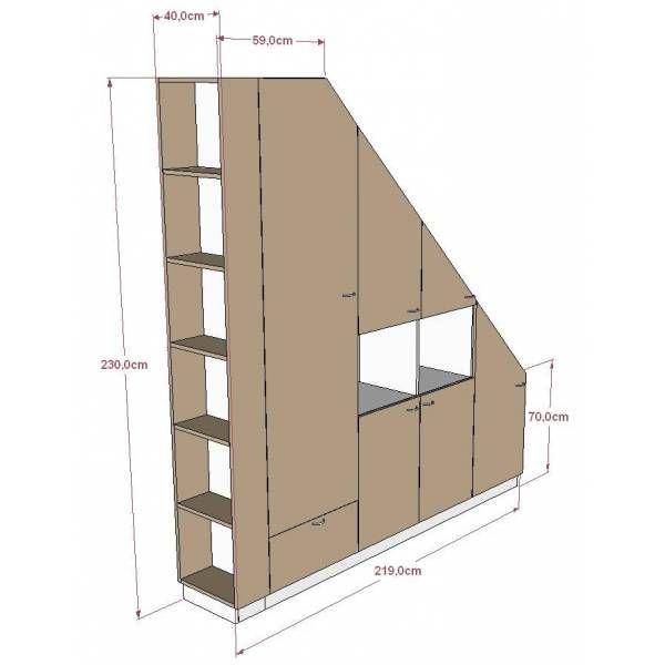 Meuble de rangements sous pente ou sous escalier sur mesure