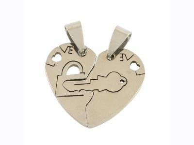 Καρδιά ατσάλινη  για δύο κρεμαστά  25x27mm     1τμχ. [STM-208N]