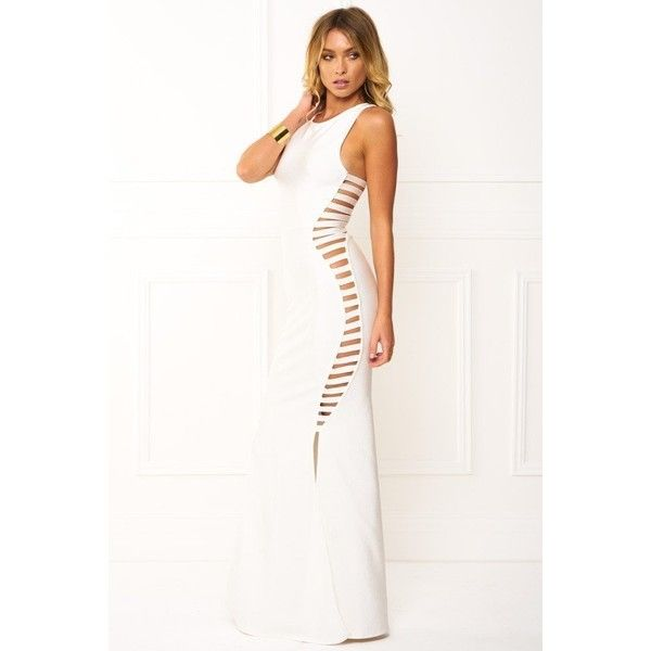 Honey couture emmy white high neck cut out bandage maxi formal dress ($169) ❤ liked on Polyvore featuring dresses, formal evening dresses, cutout maxi dresses, formal dresses, white bandage dress and cut-out maxi dresses