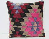 aztec pillow sham 18x18 rustic bedding kilim pillow red decorative pillow pink throw pillow pattern pillow primitive throw pillow red 27099