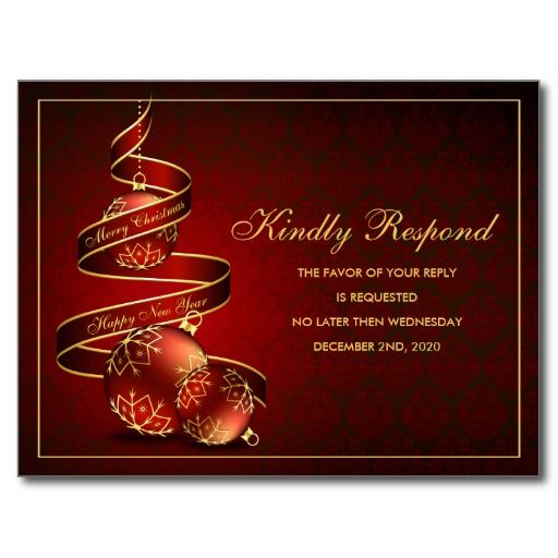 Elegant Christmas And Holiday Party RSVP Template Postcard  Party Rsvp Template