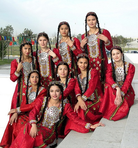 Central Asia | Young Turmenistan women in traditional dress and jewellery | Photographer unknown