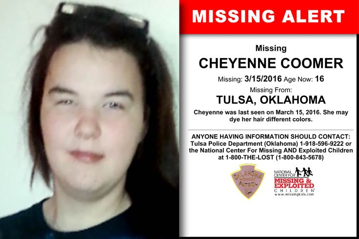 CHEYENNE COOMER, Age Now: 16, Missing: 03/15/2016. Missing From TULSA, OK. ANYONE HAVING INFORMATION SHOULD CONTACT: Tulsa Police Department (Oklahoma) 1-918-596-9222.