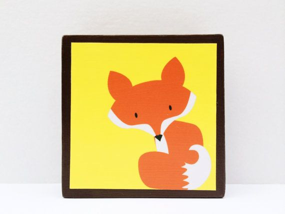Little Red Fox Art Block Sunny Yellow Background  by WoodlingsArt, $15.00
