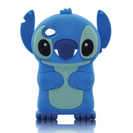 HIGHSTAR Wrist band + 3D Blue Stitch & Lilo Soft Silicone Case Cover for Ipod Touch 4/4g/4th Generation - Blue