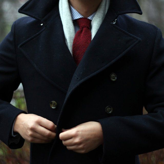 Navy Wool Pea Coat - This Navy Wool double breasted pea coat is the perfect coat for this season, made with pure wool this crisp blue color will sure standout from the other coats in your closet.