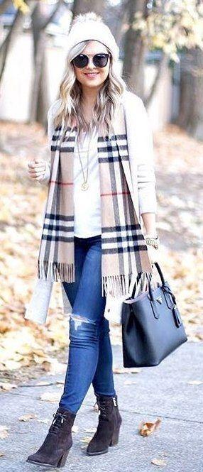 White Beanie + Printed Scarf + Black Leather Tote Bag + White Top... - Street Fashion