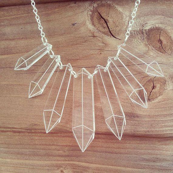 Crystals necklace - laser cut acrylic