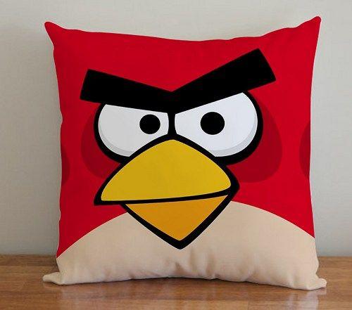 BDP 127 Red Angry Bird Face - Pillow Case 16x16, 2 side | PodoMoro - Home & Garden on ArtFire