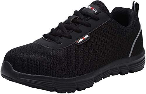 Safety Work Shoes Women ESD Lightweight Breathable Slip Resistant Static Dissipative Sneakers LARNMERN Steel Toe Shoes Women
