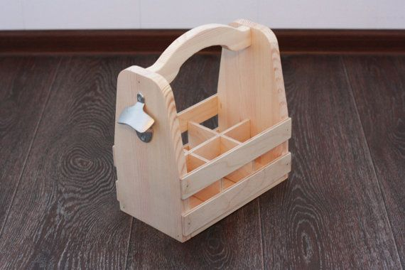 Unassembled #Beer Tote DIY Kit.  Rustic wooden 6 pack tote to carry 12oz beer bottles. This would be a great groomsmen gift or Father's Day gift, perfect for transporting or... #woodcraft #woodwork #giftforhim #barware #homebrew #beer #wood