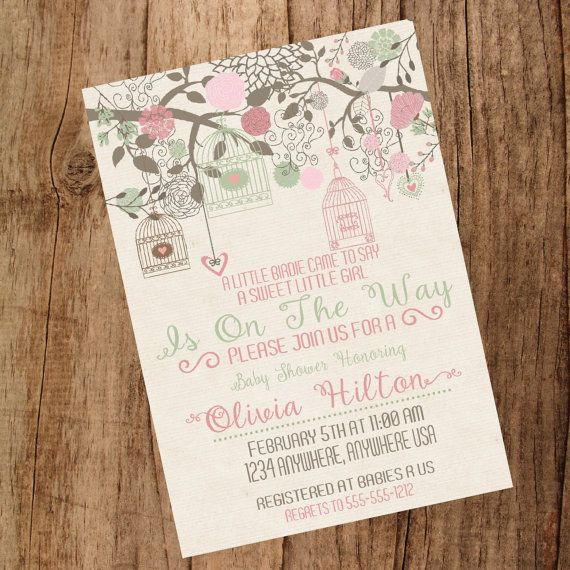 the baby nursery is pink and green so this one might be it!  Baby  bird Shower Invitation Rustic Baby by MichelleRayeDesigns