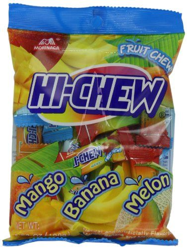 "Morinaga Hi Chew Candy, Tropical Mix, 3.53 Ounce (Pack of 6) It's like a cross betwen a gummy bear and starburst. It starts off chewing like a gummy bear and then swallows like a starburst, but not as sweet as one. The flavors are ""Juicy"" and not overly sweet. I've always enjoyed Hi-chews, but I'd never tried the tropical varieties, so I blind bought a box of these. And, I'm glad I did because I absolutely love them.:"