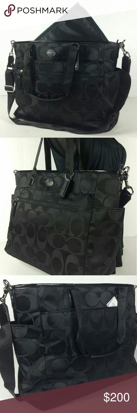 Black coach diaper/ messenger bag Excellent condition used 1 week real 100 % it is a diaper bag however I used it for work for my laptop and files worked perfectly I just got a different job didn't need it it's been sitting in my closet Bags