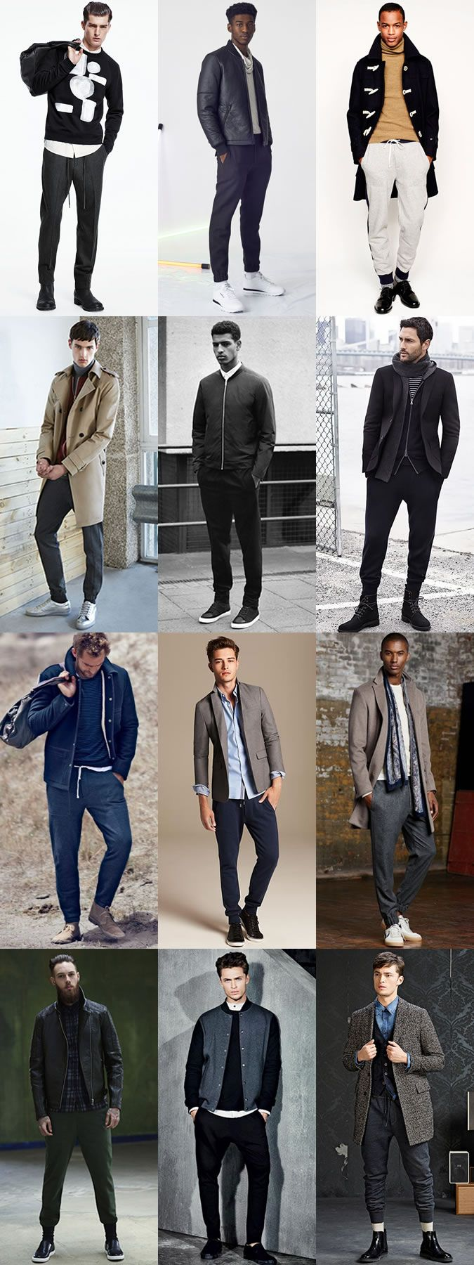 Men's Slimline and Tapered Jogging Bottoms/Sweatpants Outfit Inspiration Lookbook