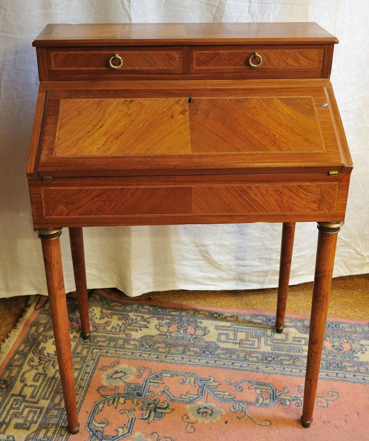 bureau de pente en marqueterie de bois de rose style louis xvi relais christine mobilier. Black Bedroom Furniture Sets. Home Design Ideas