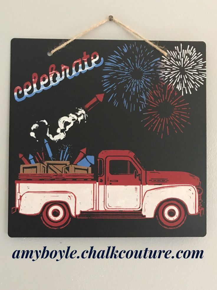 Vintage truck chalk couture. July 4th. Summer decoration # 4th #Chalk #Coutu Sidewa …   – Chalk it up