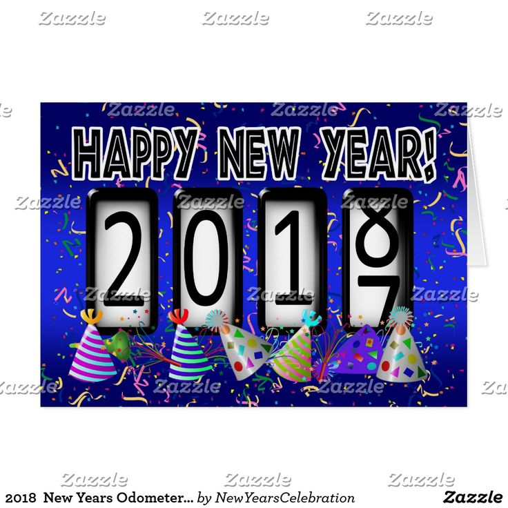 2018  New Years Odometer Party Hats Card by #gravityx9 Designs  - #NewYearsCelebration ~