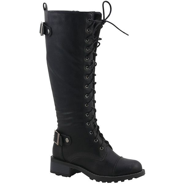 Nature Breeze Black Combat Boot ($30) ❤ liked on Polyvore featuring shoes, boots, sapatos, knee-high boots, black knee high lace up boots, black lace up boots, combat boots, army boots and knee boots