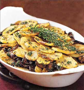Find the recipe for Potato and Portobello Mushroom Gratin and other herb recipes at Epicurious.com