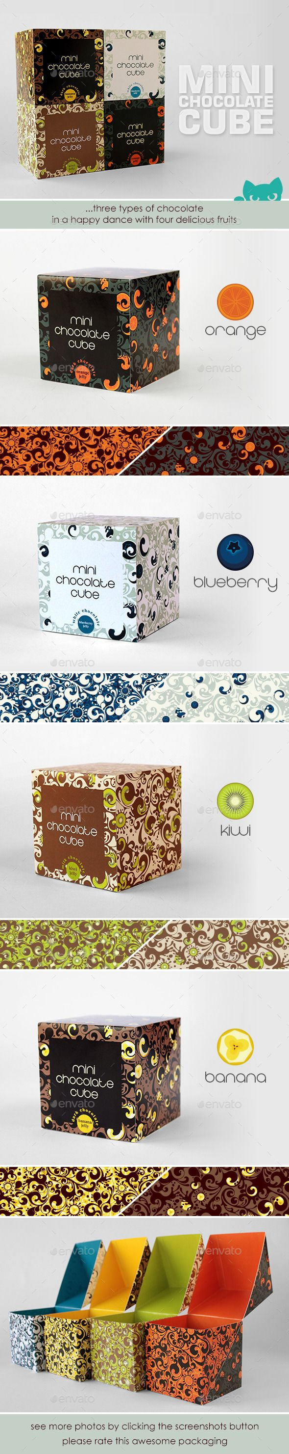 A cubic box with a simple basic shape and an elegant opening solution. Each box has a swirling melting chocolate design with individual color schemes. Three types of chocolate, dark, milk and white in a happy dance with four delicious fruits, blackberry, kiwi, orange and banana.