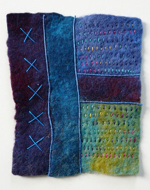Wet felting, hand stitched by Fi@84 - Fiona Rainford, I love the colour combination