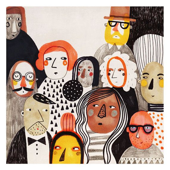 People Giclee Fine Art print 8x8 Illustration Print by meszely