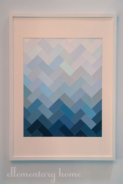 Paint chips, ombre and herringbone.Wall Art, Chips Art, Painting Samples, Painting Chips, Painting Swatches, Paint Chips, Diy Art, Paint Chip Art, Paint Samples