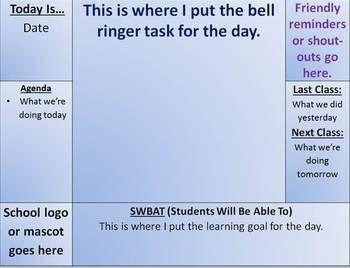 Bell Ringer-Daily Starter-First 5-Organizer Template