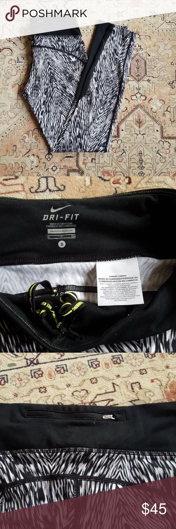 Nike running tights Excellent used condition,  barely worn. Very soft fabric. Nike Pants Leggings