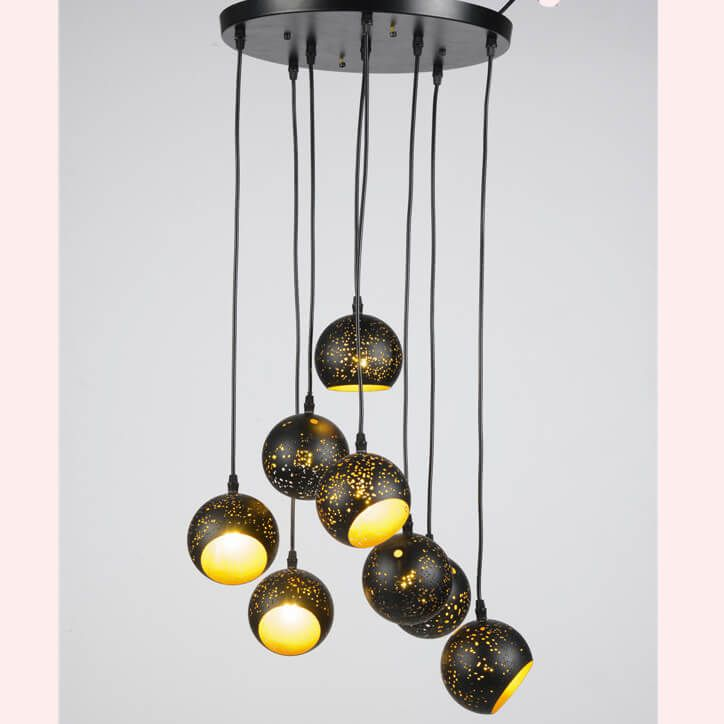 Light up your home  Etching Process Pendant Lamp WFS1739    Model: WFS1739;  Material: Iron;  Size :100mm round ball/8pcs;  Base:1*E27/E26;  Capacity: Max.60W;  Certificate:CE/ROHS/UL;  Application: Dining Room, Bedroom,Living room, Study room, Small living room,Restaurant,theme park , etc.  Packaging : Standard seaworthy carton, or as per customer's requirement.   ASK FOR QUOTATION