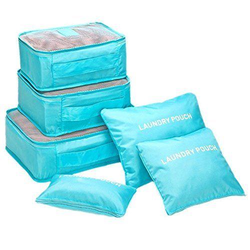 YunNasi 6pieces Sac de Rangement Voyage Pochette Organisateur Bagage Valise Vêtement Imperméable pour Vacance: Pacakage inclus: 6 pcs Sacs…