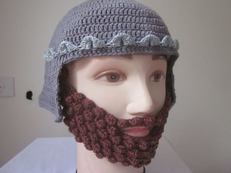 Knight helmet, a silver crown decoration and a brown beard as a removeable visor by knightwhosaidknit on Etsy