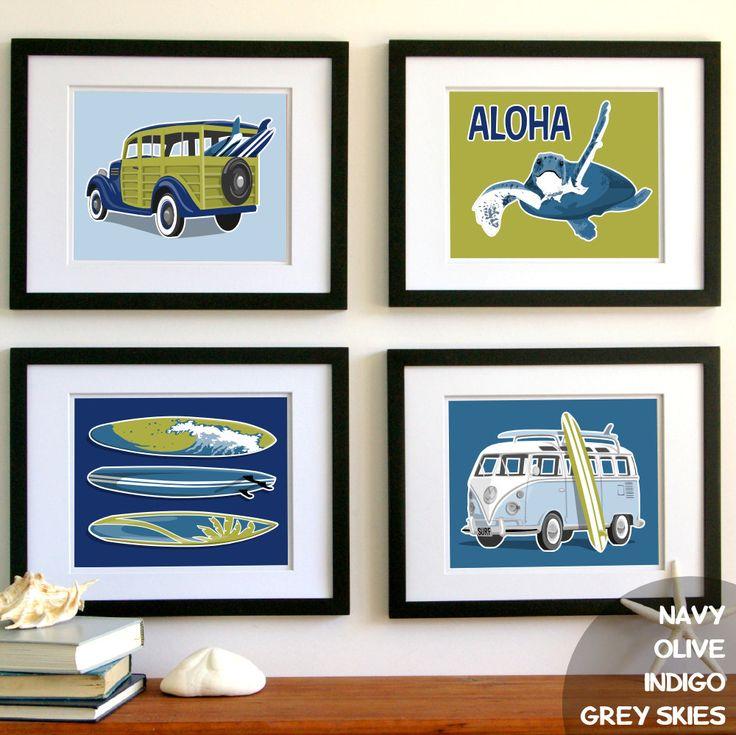 Childrens Wall Art Surfer Boy Beach Art Prints Surf Art Prints Custom Colors