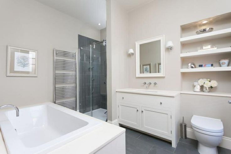 cabinets in stoney ground ensuite bathroom farrow and ball stony ground on walls slipper. Black Bedroom Furniture Sets. Home Design Ideas