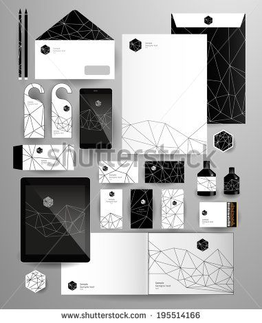 Abstract thin line polygonal business set. Geometric, triangles. Corporate identity templates: blank, business cards, badge, envelope, pen, ...