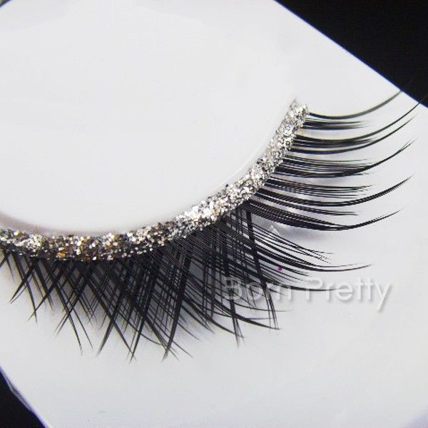 $1.99 1 Pair Black Crisscross False Eyelash Kit Partial Long Jagged Curly False Eyelash Kit - BornPrettyStore.com