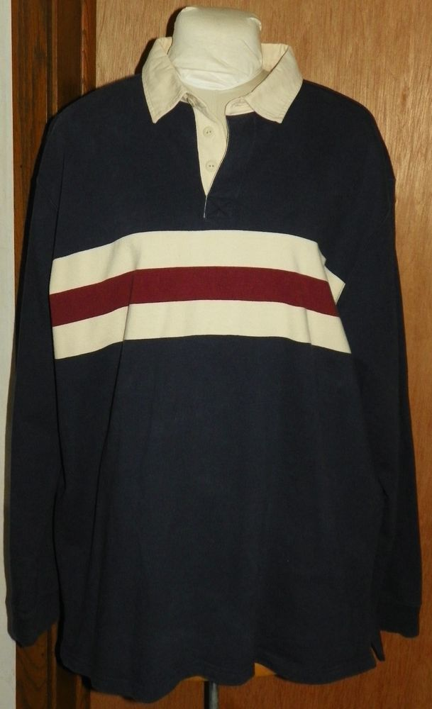 d827261eab LL Bean Rugby Shirt Long Sleeves Navy Cream Burgundy Striped Mens Size XXL  Tall #LLBean #PoloRugby