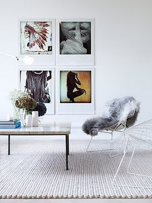 metal chair with fur