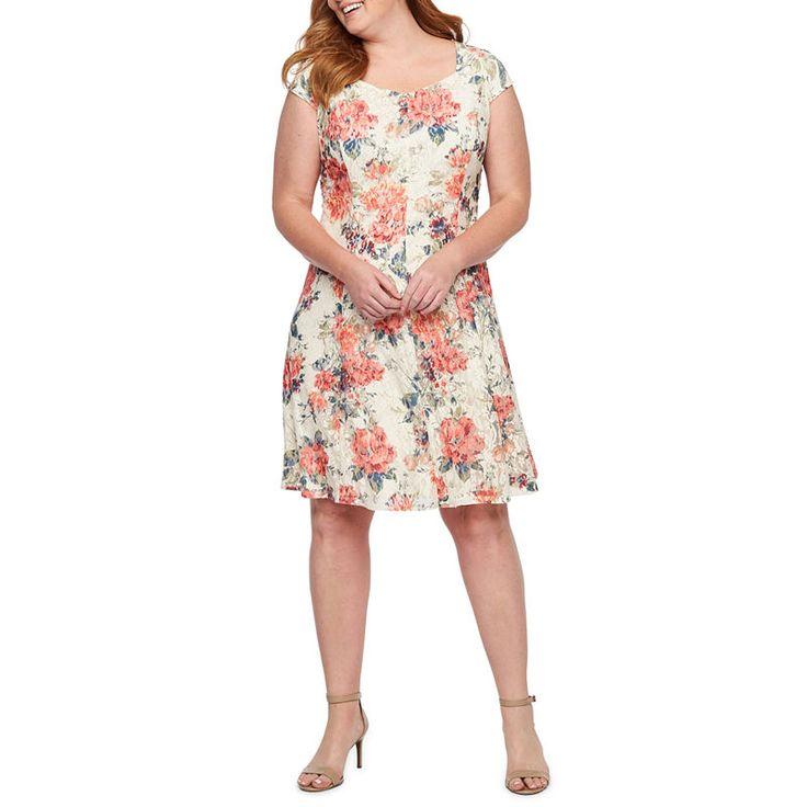 Liz Claiborne Short Sleeve Floral Lace Shift Dress Plus In
