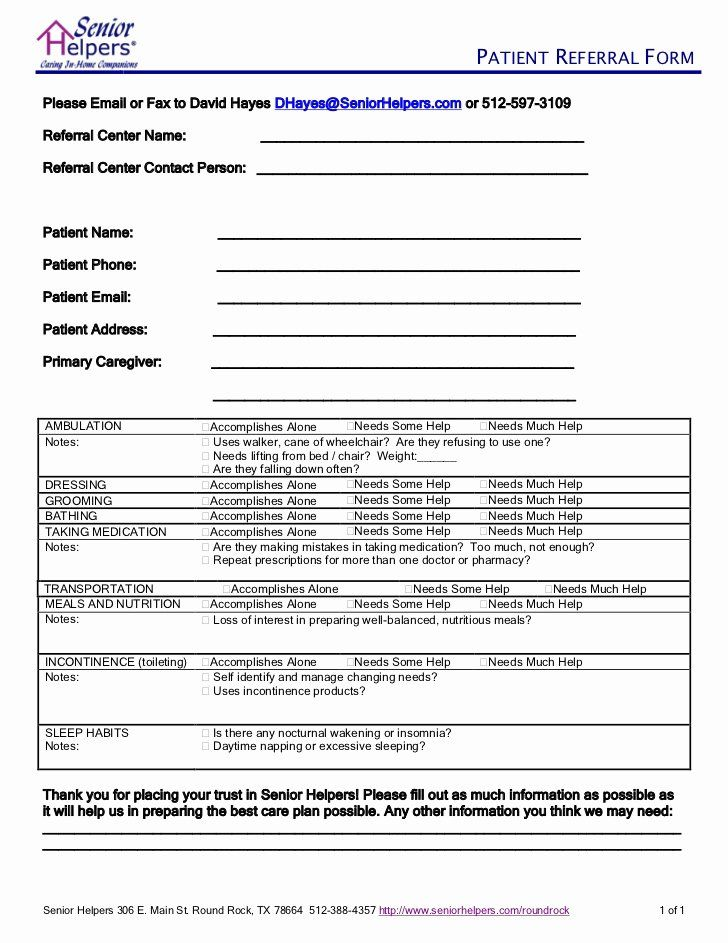 Customer Referral Form Template Beautiful Senior Helpers Client Referral Form Cover Letter Template Free Lesson Plan Outline Referrals