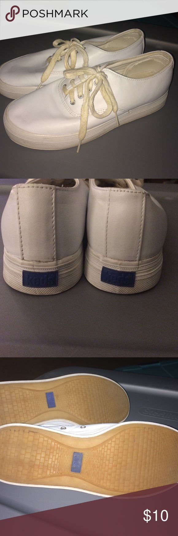 White leather keds Platform soles. White leather. Washable. Good used condition Keds Shoes Sneakers